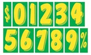 7.5 in. GREEN & YELLOW WINDSHIELD NUMBERS