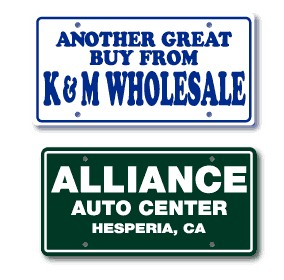 .015 LICENSE PLATE INSERT CARDS WITH 1 COLOR