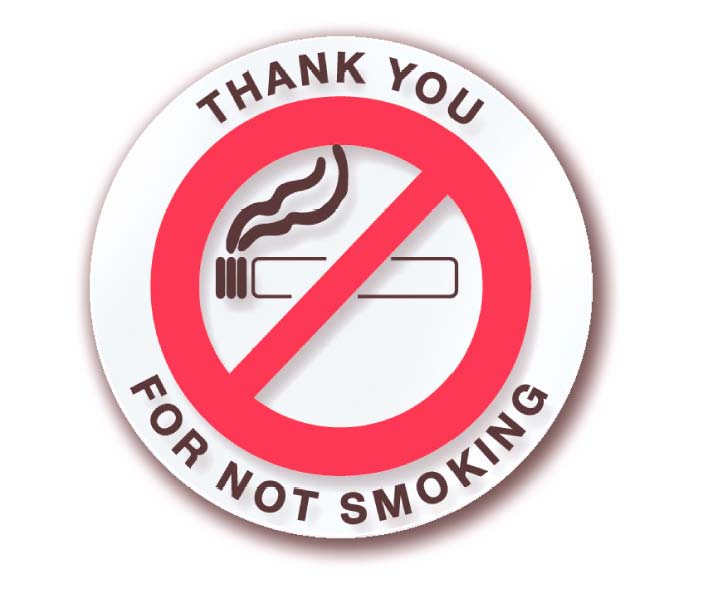 THANK YOU FOR NOT SMOKING STICKERS