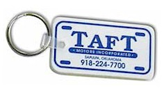 LICENSE PLATE SHAPED KEY TAGS (TAG COLOR + 1 PRINT COLOR)