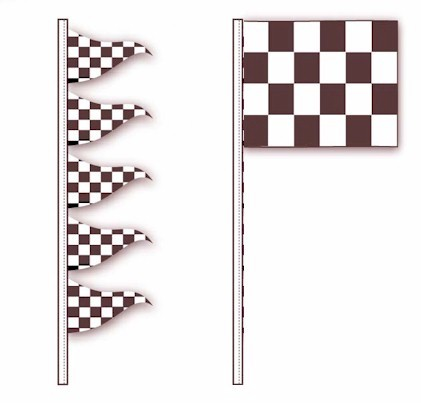 BLACK & WHITE CHECKERED ANTENNA PENNANTS